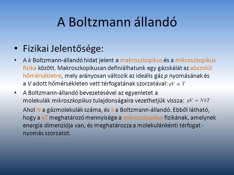 A Boltzmann állandó Fizikai Jelentősége: A k Boltzmann-állandó hidat jelent a makroszkopikus és a mikroszkopikus fizika között. Makroszkopikusan defin