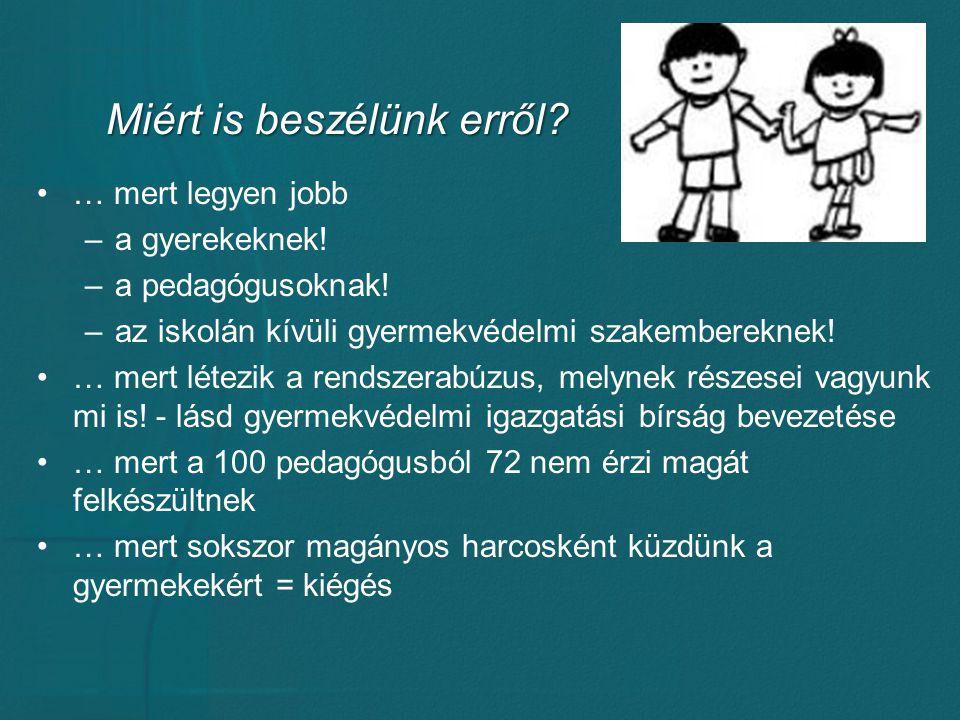 Miért is beszélünk erről? … mert legyen jobb –a gyerekeknek! –a pedagógusoknak! –az iskolán kívüli gyermekvédelmi szakembereknek! … mert létezik a ren
