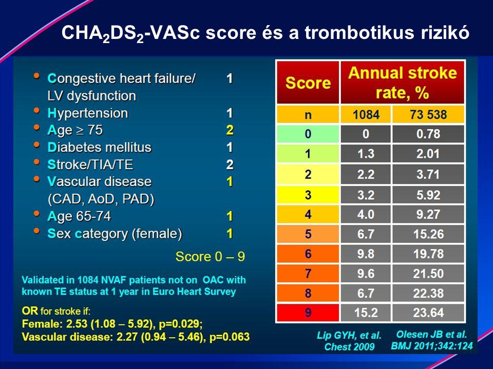 CHA 2 DS 2 -VASc score és a trombotikus rizikó