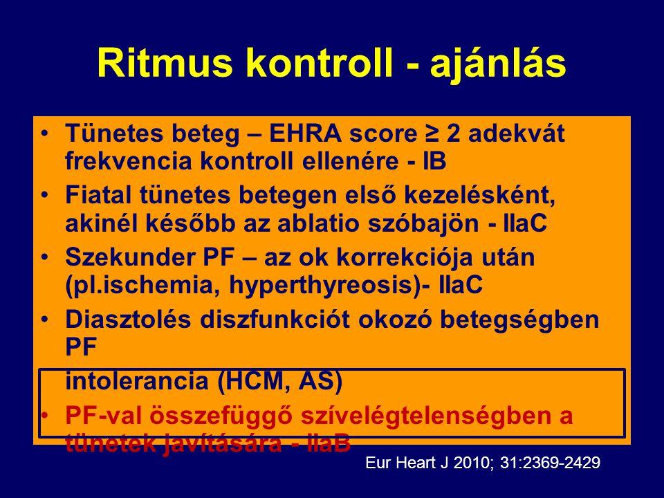 Ritmus kontroll - ajánlás Tünetes beteg – EHRA score ≥ 2 adekvát frekvencia kontroll ellenére - IB Fiatal tünetes betegen első kezelésként, akinél kés