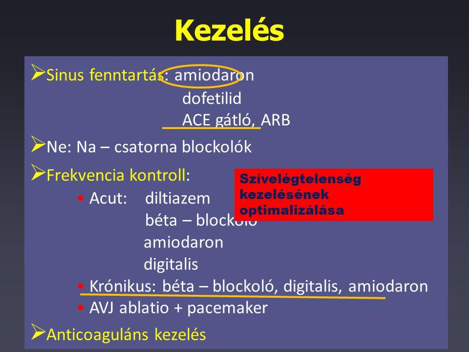 Kezelés  Sinus fenntartás: amiodaron dofetilid ACE gátló, ARB  Ne: Na – csatorna blockolók  Frekvencia kontroll: Acut: diltiazem béta – blockoló am