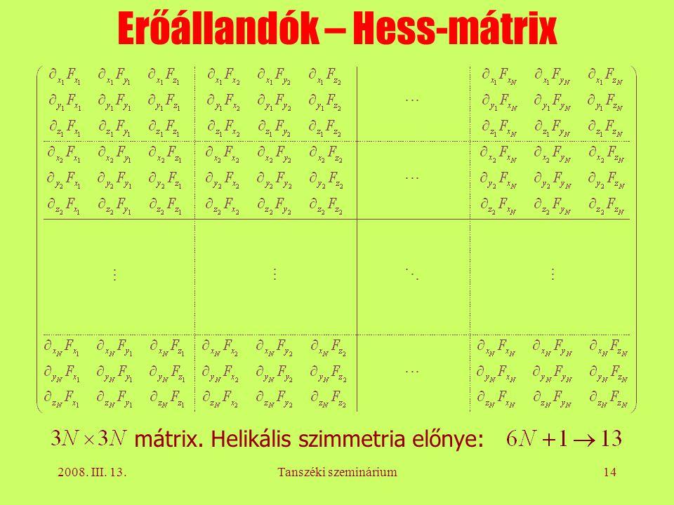 2008. III. 13.Tanszéki szeminárium14 Erőállandók – Hess-mátrix mátrix. Helikális szimmetria előnye: