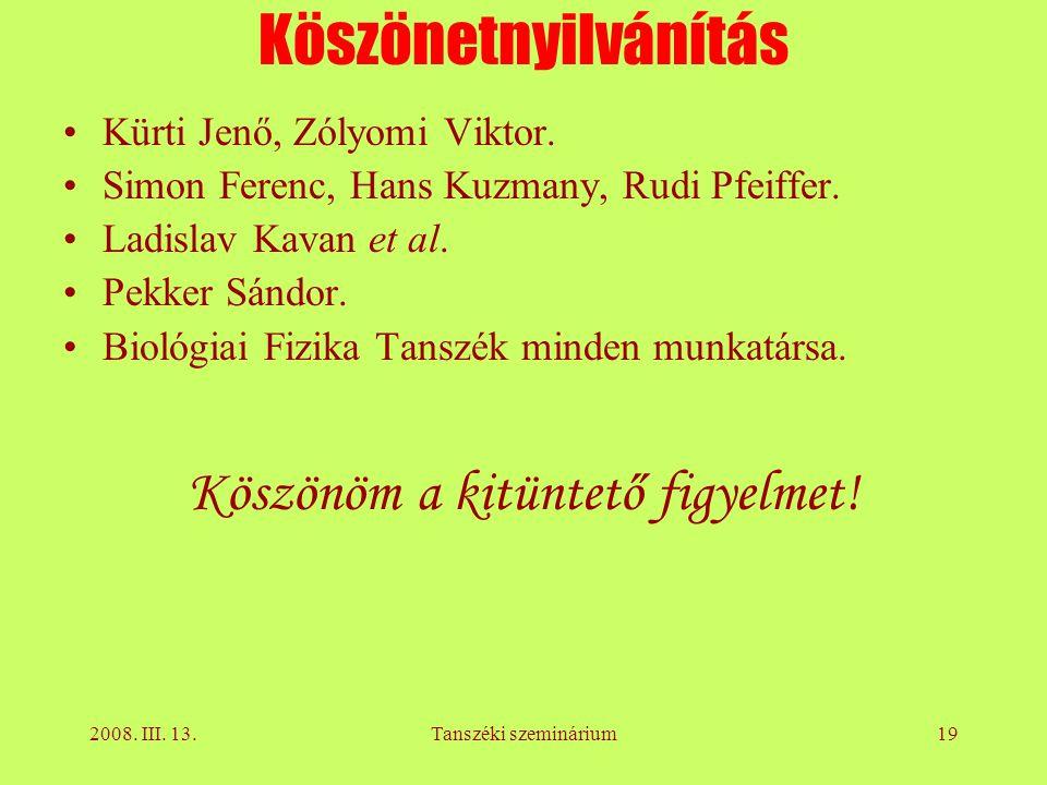 2008. III. 13.Tanszéki szeminárium19 Köszönetnyilvánítás Kürti Jenő, Zólyomi Viktor.