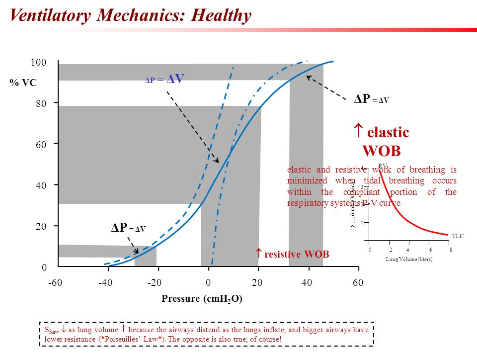 Ventilatory Mechanics: Healthy 100 80 60 40 20 0 -60-40-200 604020 % VC Pressure (cmH 2 O)  resistive WOB ΔP = ΔV S Raw  as lung volume  because th