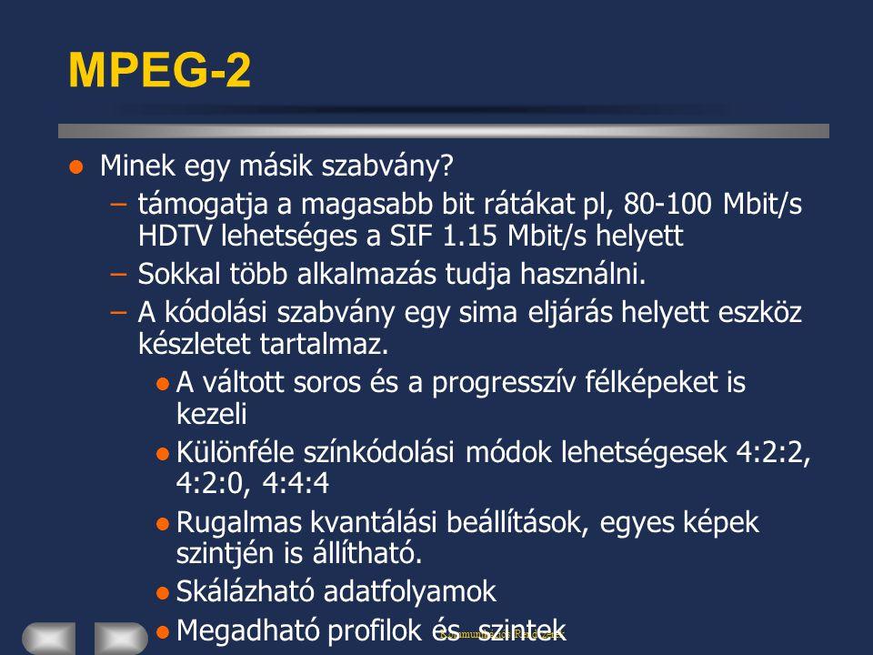 Kommunikációs Rendszerek MPEG-2 Minek egy másik szabvány? –támogatja a magasabb bit rátákat pl, 80-100 Mbit/s HDTV lehetséges a SIF 1.15 Mbit/s helyet