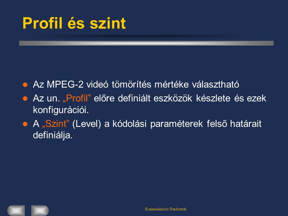 """Kommunikációs Rendszerek Profil és szint Az MPEG-2 videó tömörítés mértéke választható Az un. """"Profil"""" előre definiált eszközök készlete és ezek konfi"""