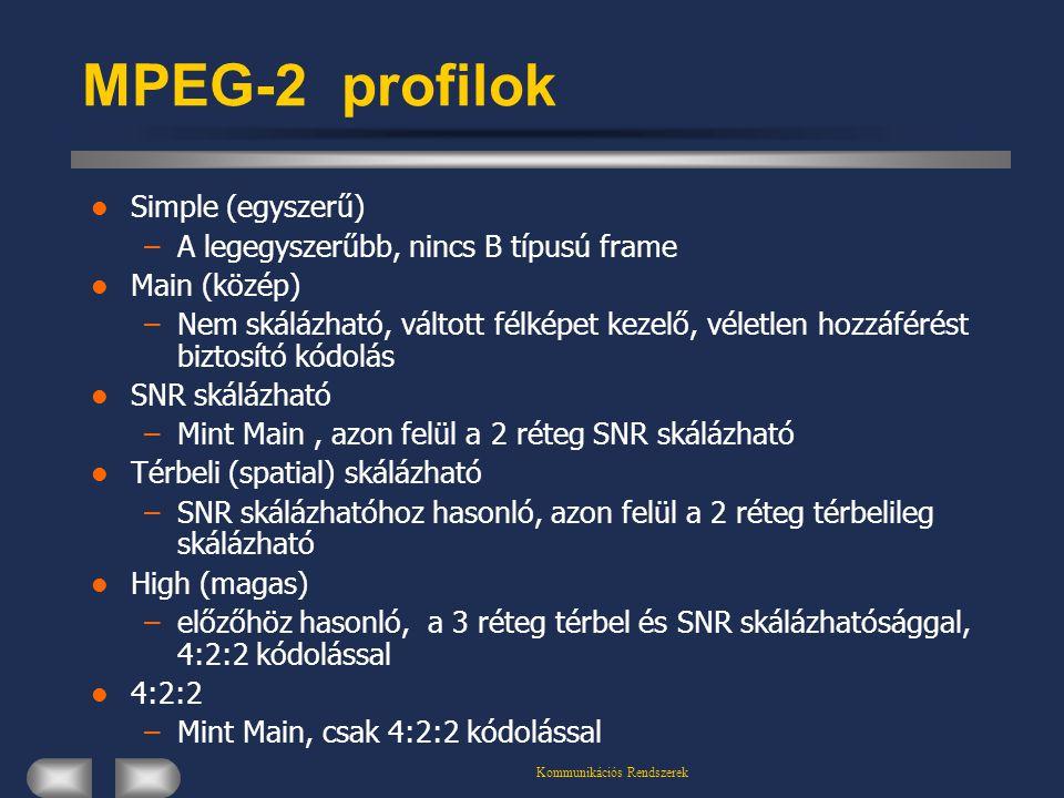 Kommunikációs Rendszerek MPEG-2 profilok Simple (egyszerű) –A legegyszerűbb, nincs B típusú frame Main (közép) –Nem skálázható, váltott félképet kezel