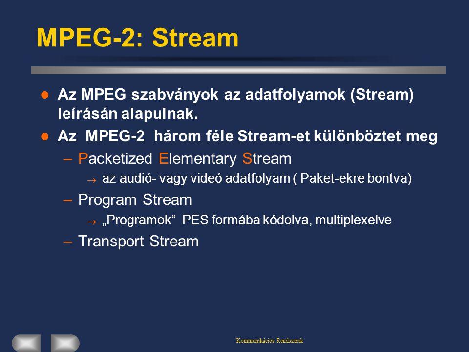 Kommunikációs Rendszerek MPEG-2: Stream Az MPEG szabványok az adatfolyamok (Stream) leírásán alapulnak. Az MPEG-2 három féle Stream-et különböztet meg