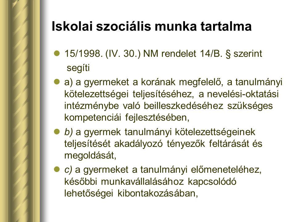 Iskolai szociális munka tartalma 15/1998. (IV. 30.) NM rendelet 14/B. § szerint segíti a) a gyermeket a korának megfelelő, a tanulmányi kötelezettsége