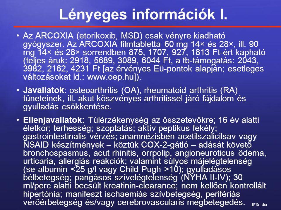 II/15. dia Lényeges információk I. Az ARCOXIA (etorikoxib, MSD) csak vényre kiadható gyógyszer. Az ARCOXIA filmtabletta 60 mg 14× és 28×, ill. 90 mg 1