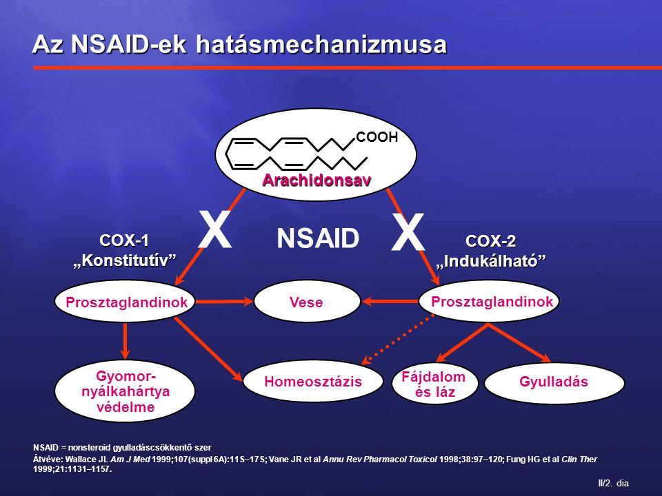 II/2. dia NSAID = nonsteroid gyulladáscsökkentő szer Átvéve: Wallace JL Am J Med 1999;107(suppl 6A):11S–17S; Vane JR et al Annu Rev Pharmacol Toxicol