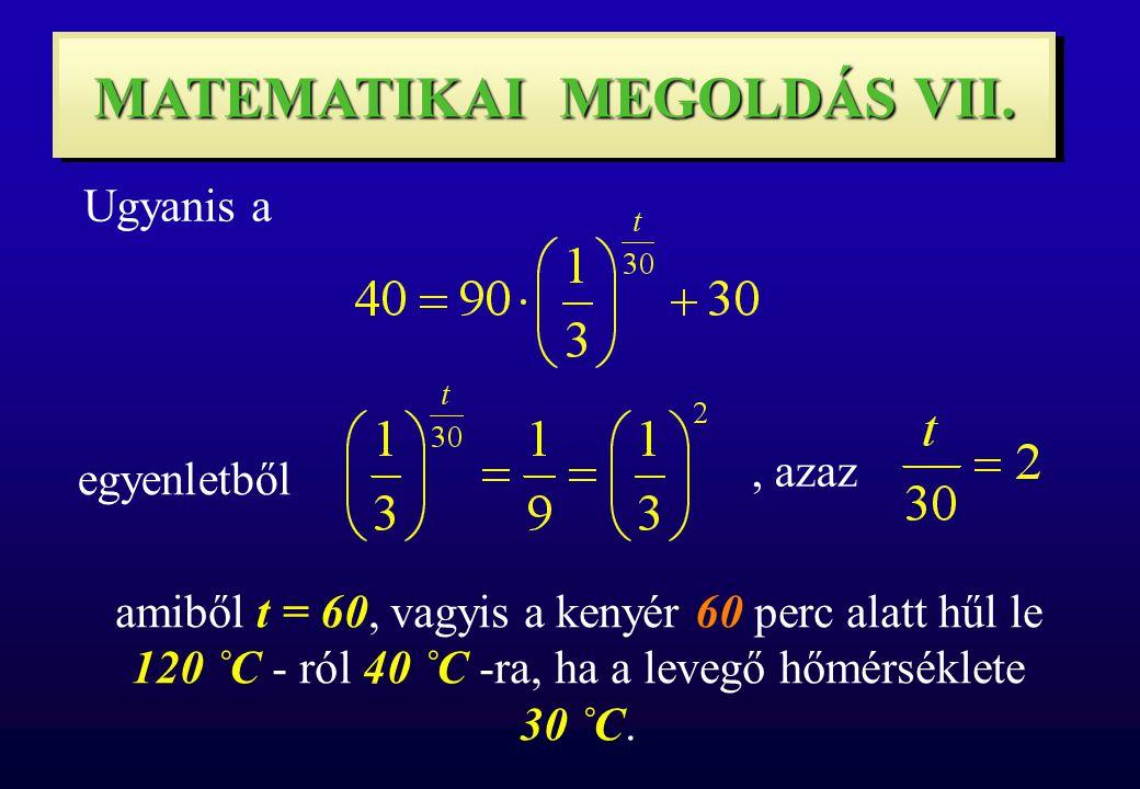 MATEMATIKAI MEGOLDÁS VII. Ugyanis a egyenletből, azaz amiből t = 60, vagyis a kenyér 60 perc alatt hűl le 120 ˚C - ról 40 ˚C -ra, ha a levegő hőmérsék