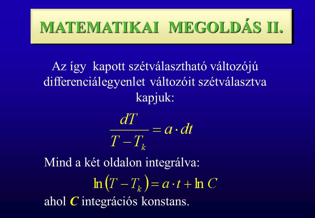 MATEMATIKAI MEGOLDÁS II. Az így kapott szétválasztható változójú differenciálegyenlet változóit szétválasztva kapjuk: Mind a két oldalon integrálva: a