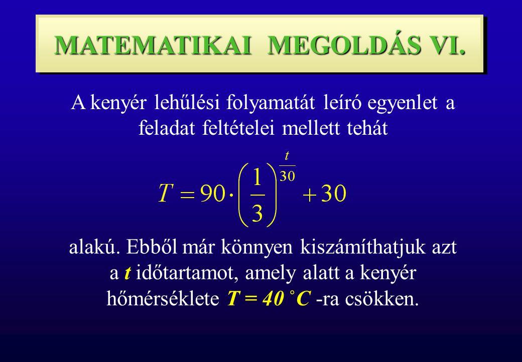 MATEMATIKAI MEGOLDÁS VI. A kenyér lehűlési folyamatát leíró egyenlet a feladat feltételei mellett tehát alakú. Ebből már könnyen kiszámíthatjuk azt a