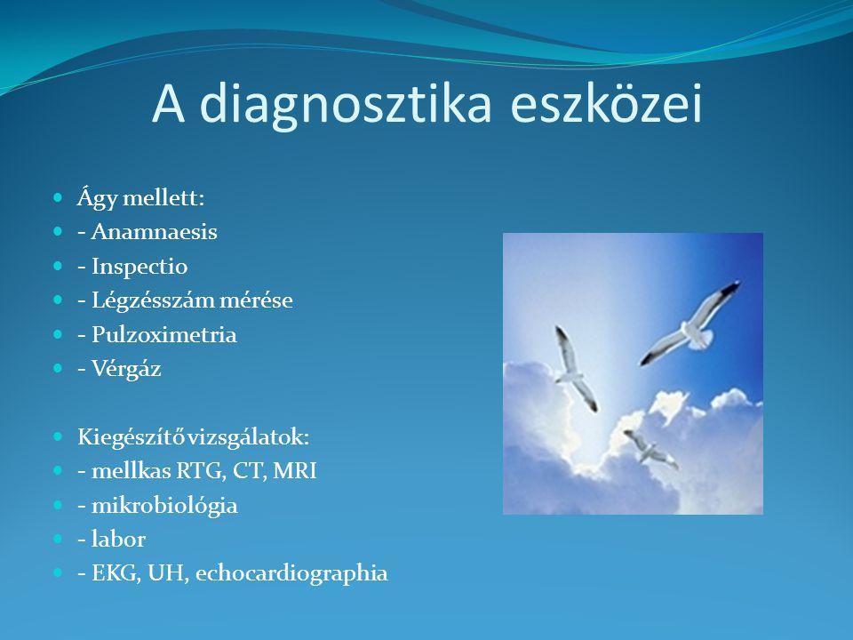 A diagnosztika eszközei Ágy mellett: - Anamnaesis - Inspectio - Légzésszám mérése - Pulzoximetria - Vérgáz Kiegészítő vizsgálatok: - mellkas RTG, CT, MRI - mikrobiológia - labor - EKG, UH, echocardiographia