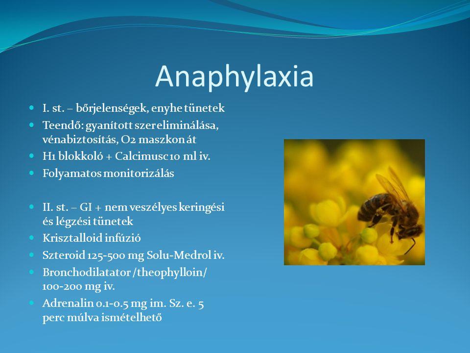 Anaphylaxia I. st. – bőrjelenségek, enyhe tünetek Teendő: gyanított szer eliminálása, vénabiztosítás, O2 maszkon át H1 blokkoló + Calcimusc 10 ml iv.