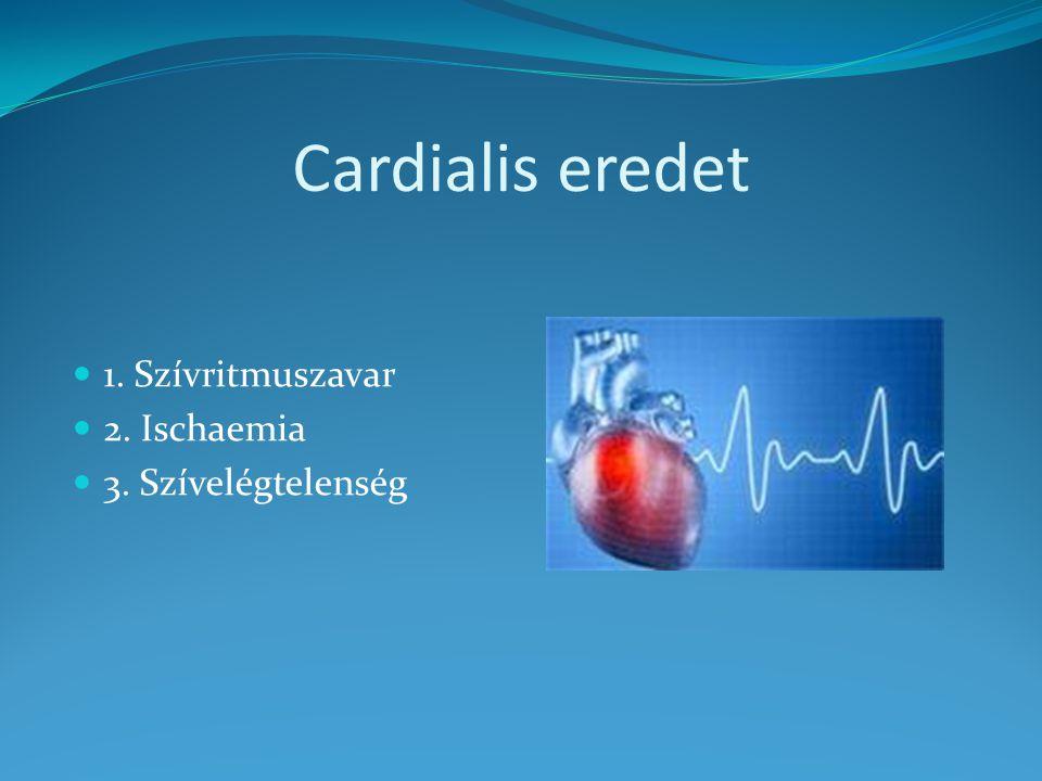 Cardialis eredet 1. Szívritmuszavar 2. Ischaemia 3. Szívelégtelenség