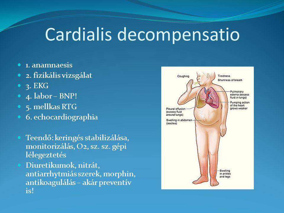 Cardialis decompensatio 1. anamnaesis 2. fizikális vizsgálat 3. EKG 4. labor – BNP! 5. mellkas RTG 6. echocardiographia Teendő: keringés stabilizálása