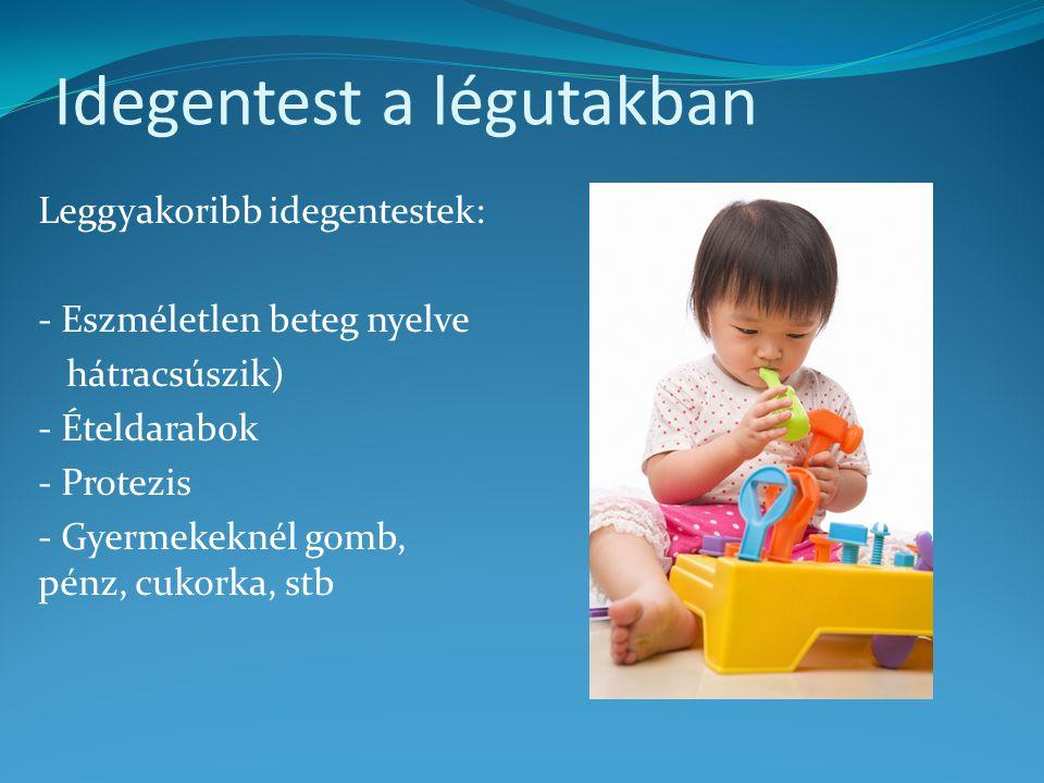 Idegentest a légutakban Leggyakoribb idegentestek: - Eszméletlen beteg nyelve hátracsúszik) - Ételdarabok - Protezis - Gyermekeknél gomb, pénz, cukork