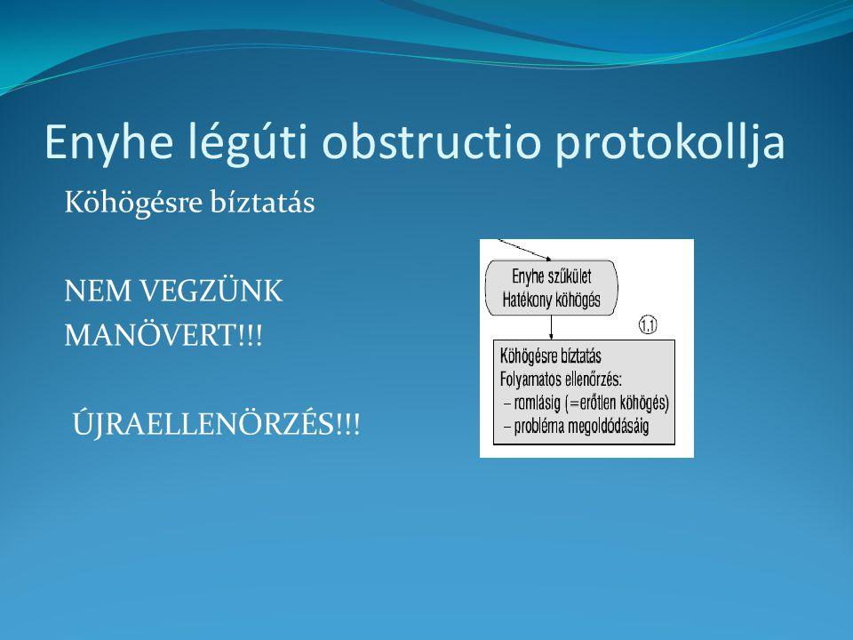 Enyhe légúti obstructio protokollja Köhögésre bíztatás NEM VEGZÜNK MANŐVERT!!! ÚJRAELLENŐRZÉS!!!