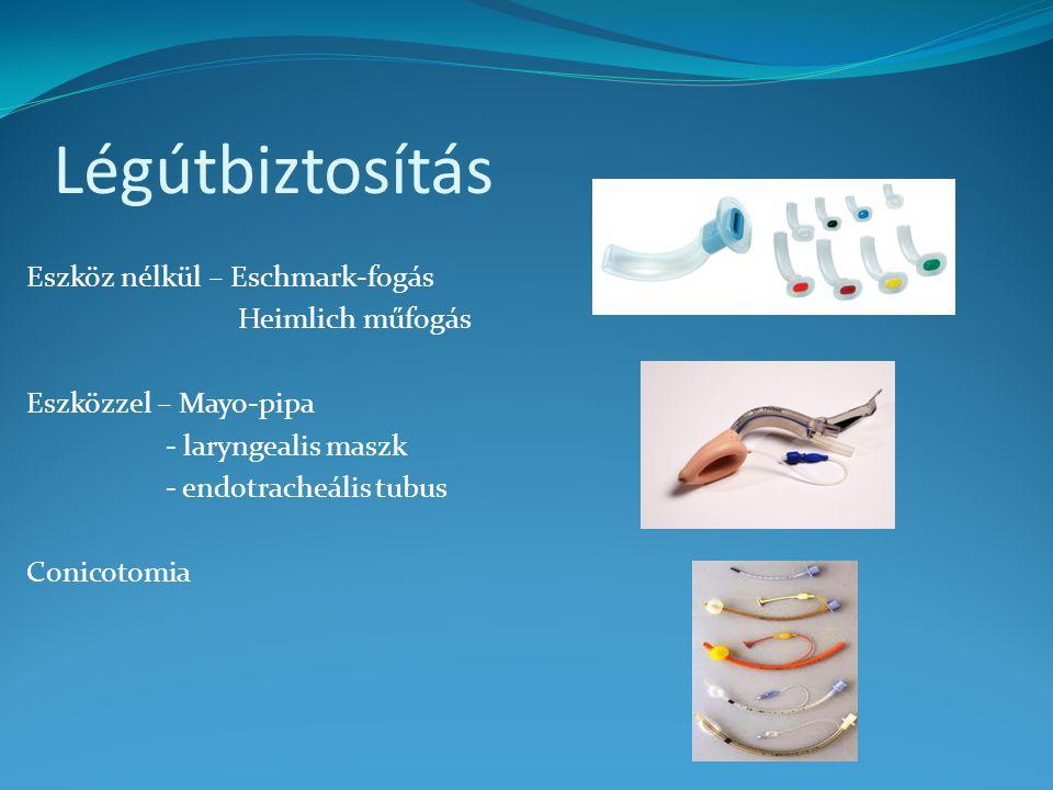 Légútbiztosítás Eszköz nélkül – Eschmark-fogás Heimlich műfogás Eszközzel – Mayo-pipa - laryngealis maszk - endotracheális tubus Conicotomia