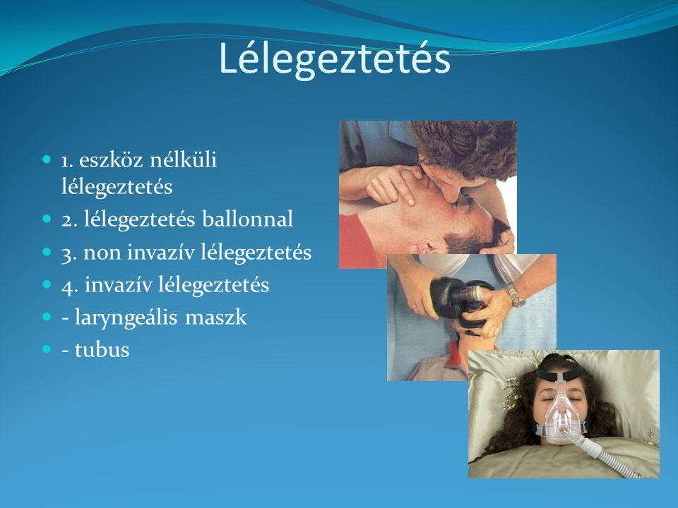 Lélegeztetés 1. eszköz nélküli lélegeztetés 2. lélegeztetés ballonnal 3. non invazív lélegeztetés 4. invazív lélegeztetés - laryngeális maszk - tubus