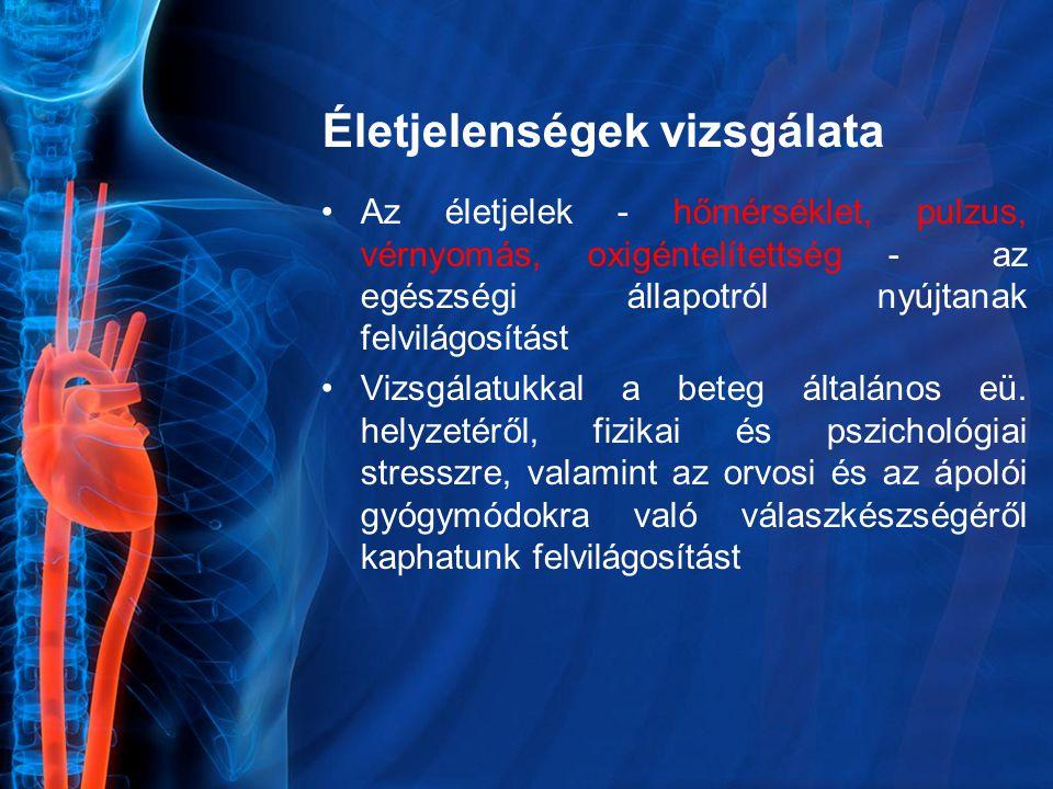 Pulzus jelölése Jelölése: pulzusgörbe – kék, fekete v.