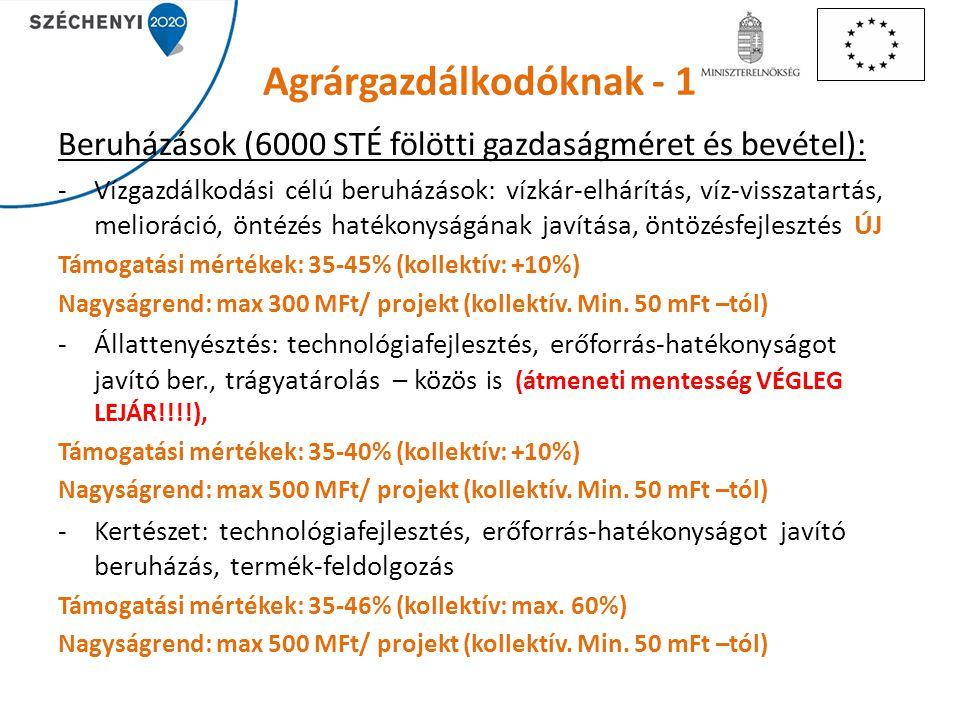 Agrárgazdálkodóknak - 1 Beruházások (6000 STÉ fölötti gazdaságméret és bevétel): -Vízgazdálkodási célú beruházások: vízkár-elhárítás, víz-visszatartás