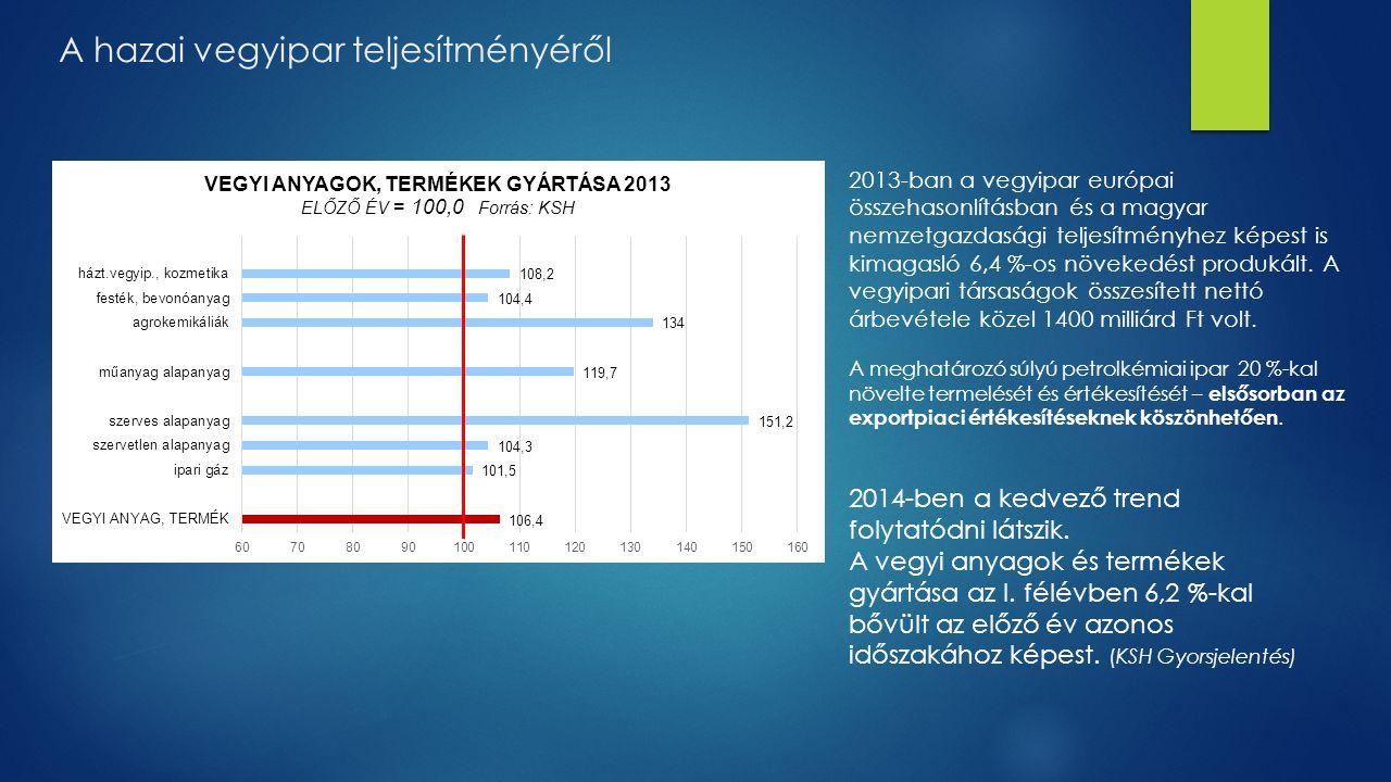 A hazai vegyipar teljesítményéről 2013-ban a vegyipar európai összehasonlításban és a magyar nemzetgazdasági teljesítményhez képest is kimagasló 6,4 %
