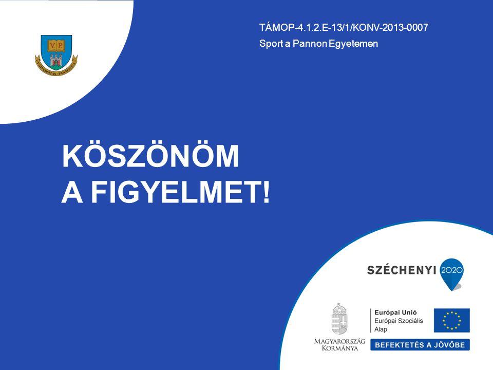 KÖSZÖNÖM A FIGYELMET! TÁMOP-4.1.2.E-13/1/KONV-2013-0007 Sport a Pannon Egyetemen