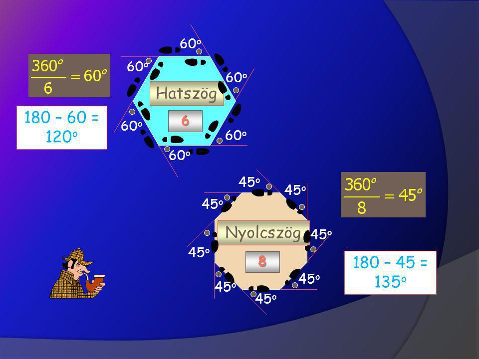 Szabályos sokszögek Négyzet 4 Ötszög 5 Egyenlőoldalú h. 3 120 o 60 o 90 o 72 o 108 o 180 – 120 = 60 o 180 – 90 = 90 o 180 – 72 = 108 o