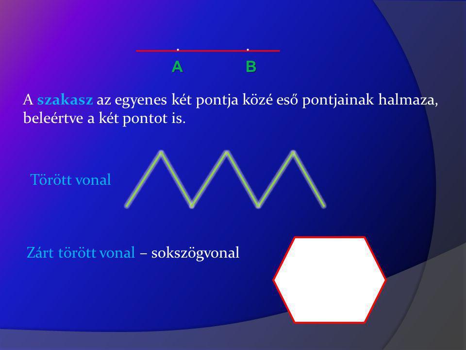 ..АB A szakasz az egyenes két pontja közé eső pontjainak halmaza, beleértve a két pontot is.