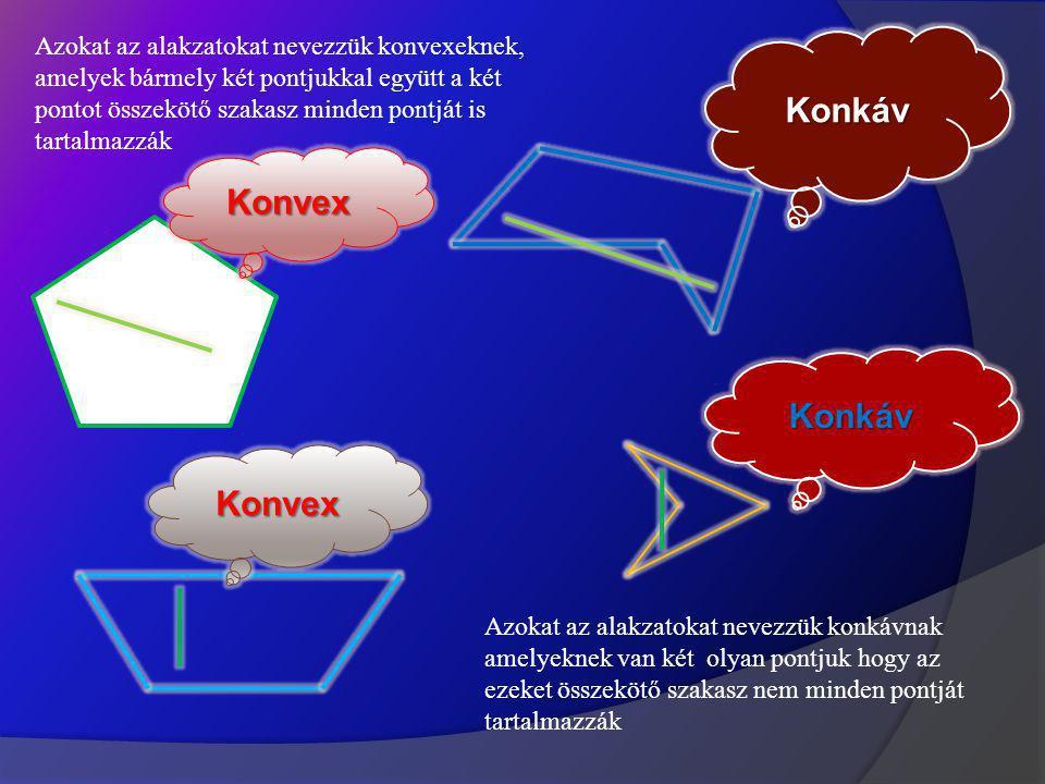 Konvex Konvex Konkáv Konkáv Azokat az alakzatokat nevezzük konvexeknek, amelyek bármely két pontjukkal együtt a két pontot összekötő szakasz minden pontját is tartalmazzák Azokat az alakzatokat nevezzük konkávnak amelyeknek van két olyan pontjuk hogy az ezeket összekötő szakasz nem minden pontját tartalmazzák