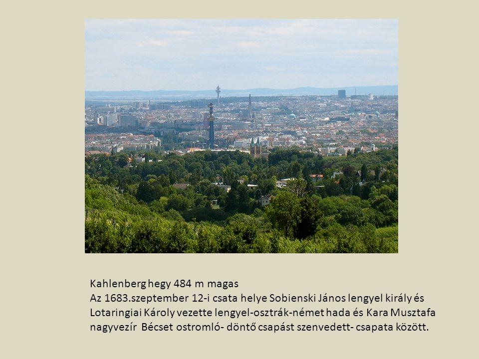 Kahlenberg hegy 484 m magas Az 1683.szeptember 12-i csata helye Sobienski János lengyel király és Lotaringiai Károly vezette lengyel-osztrák-német hada és Kara Musztafa nagyvezír Bécset ostromló- döntő csapást szenvedett- csapata között.