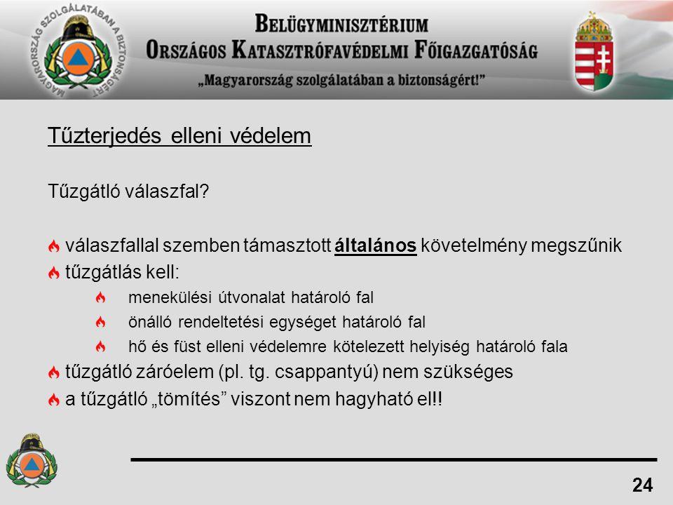 Tűzterjedés elleni védelem Tűzgátló válaszfal? válaszfallal szemben támasztott általános követelmény megszűnik tűzgátlás kell: menekülési útvonalat ha