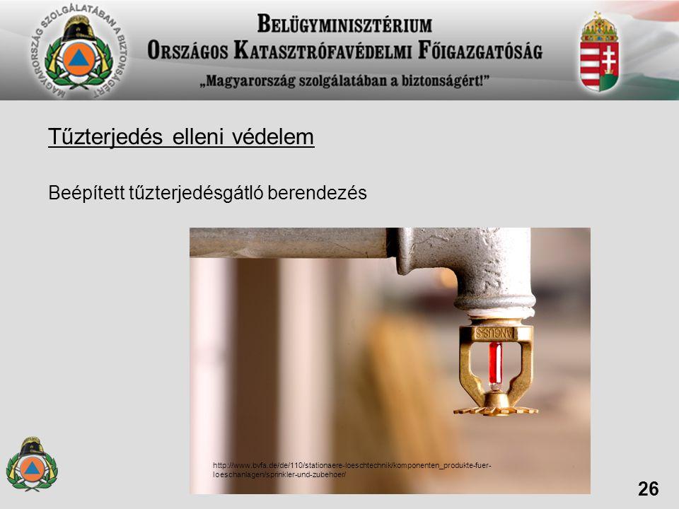 Tűzterjedés elleni védelem Beépített tűzterjedésgátló berendezés 26 http://www.bvfa.de/de/110/stationaere-loeschtechnik/komponenten_produkte-fuer- loe
