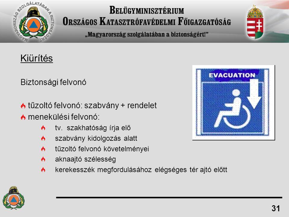 Kiürítés Biztonsági felvonó tűzoltó felvonó: szabvány + rendelet menekülési felvonó: tv. szakhatóság írja elő szabvány kidolgozás alatt tűzoltó felvon