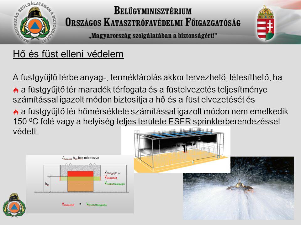 Hő és füst elleni védelem A füstgyűjtő térbe anyag-, terméktárolás akkor tervezhető, létesíthető, ha a füstgyűjtő tér maradék térfogata és a füstelvez