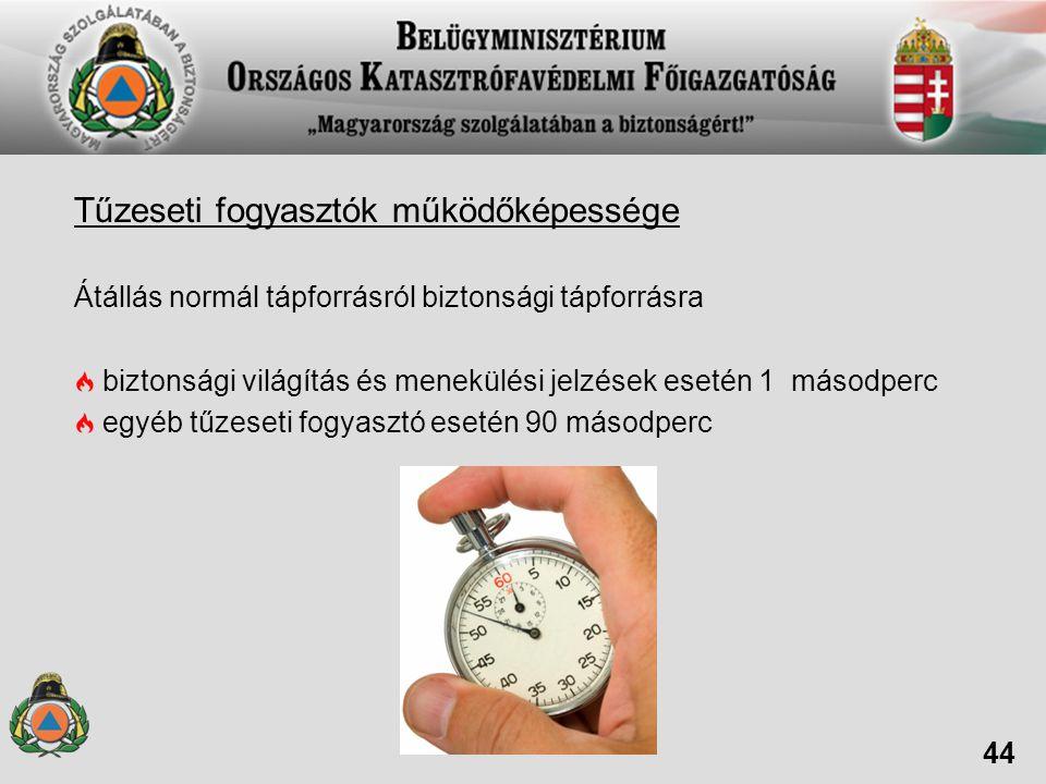 Tűzeseti fogyasztók működőképessége Átállás normál tápforrásról biztonsági tápforrásra biztonsági világítás és menekülési jelzések esetén 1 másodperc