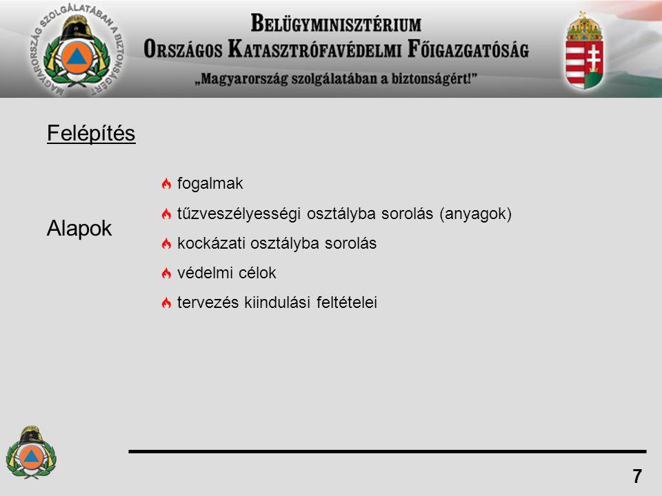 Felépítés Alapok 7 fogalmak tűzveszélyességi osztályba sorolás (anyagok) kockázati osztályba sorolás védelmi célok tervezés kiindulási feltételei