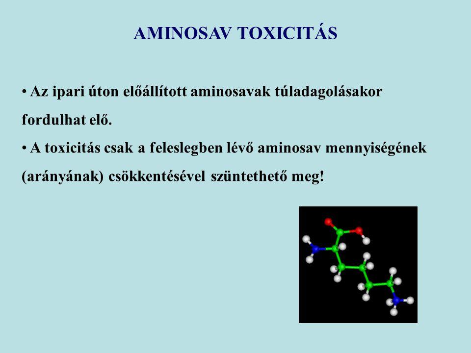 AMINOSAV TOXICITÁS Az ipari úton előállított aminosavak túladagolásakor fordulhat elő. A toxicitás csak a feleslegben lévő aminosav mennyiségének (ará
