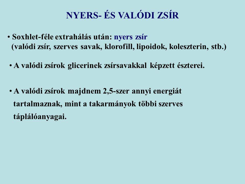 NYERS- ÉS VALÓDI ZSÍR Soxhlet-féle extrahálás után: nyers zsír (valódi zsír, szerves savak, klorofill, lipoidok, koleszterin, stb.) A valódi zsírok glicerinek zsírsavakkal képzett észterei.
