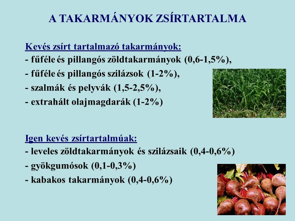 A TAKARMÁNYOK ZSÍRTARTALMA Kevés zsírt tartalmazó takarmányok: - fűféle és pillangós zöldtakarmányok (0,6-1,5%), - fűféle és pillangós szilázsok (1-2%), - szalmák és pelyvák (1,5-2,5%), - extrahált olajmagdarák (1-2%) Igen kevés zsírtartalmúak: - leveles zöldtakarmányok és szilázsaik (0,4-0,6%) - gyökgumósok (0,1-0,3%) - kabakos takarmányok (0,4-0,6%)