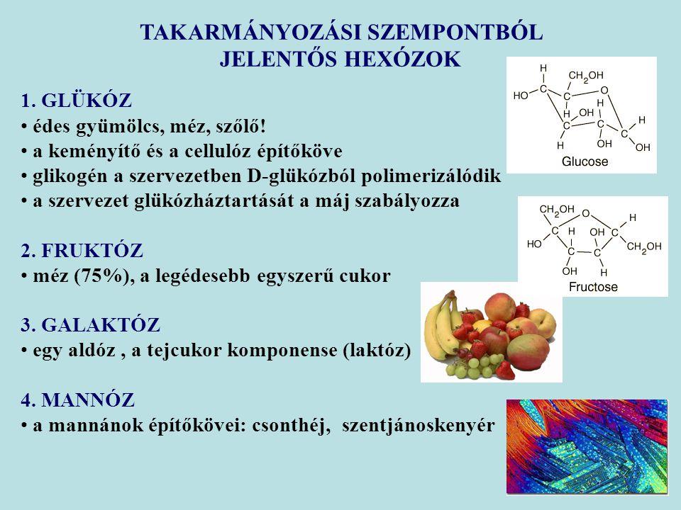 1. GLÜKÓZ édes gyümölcs, méz, szőlő! a keményítő és a cellulóz építőköve glikogén a szervezetben D-glükózból polimerizálódik a szervezet glükózháztart