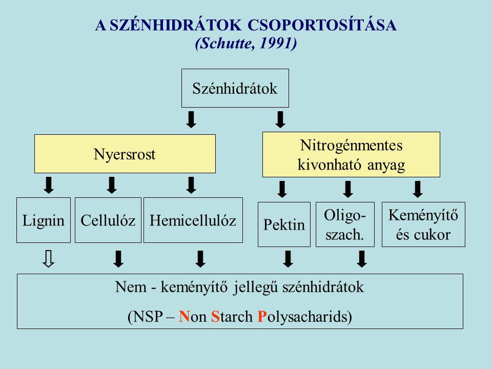 A SZÉNHIDRÁTOK CSOPORTOSÍTÁSA (Schutte, 1991) Szénhidrátok Nyersrost Nitrogénmentes kivonható anyag LigninCellulózHemicellulóz Pektin Oligo- szach. Ke