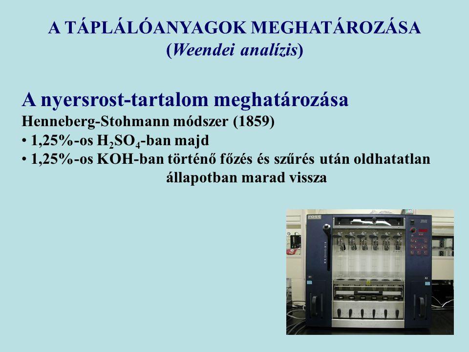 A nyersrost-tartalom meghatározása Henneberg-Stohmann módszer (1859) 1,25%-os H 2 SO 4 -ban majd 1,25%-os KOH-ban történő főzés és szűrés után oldhata