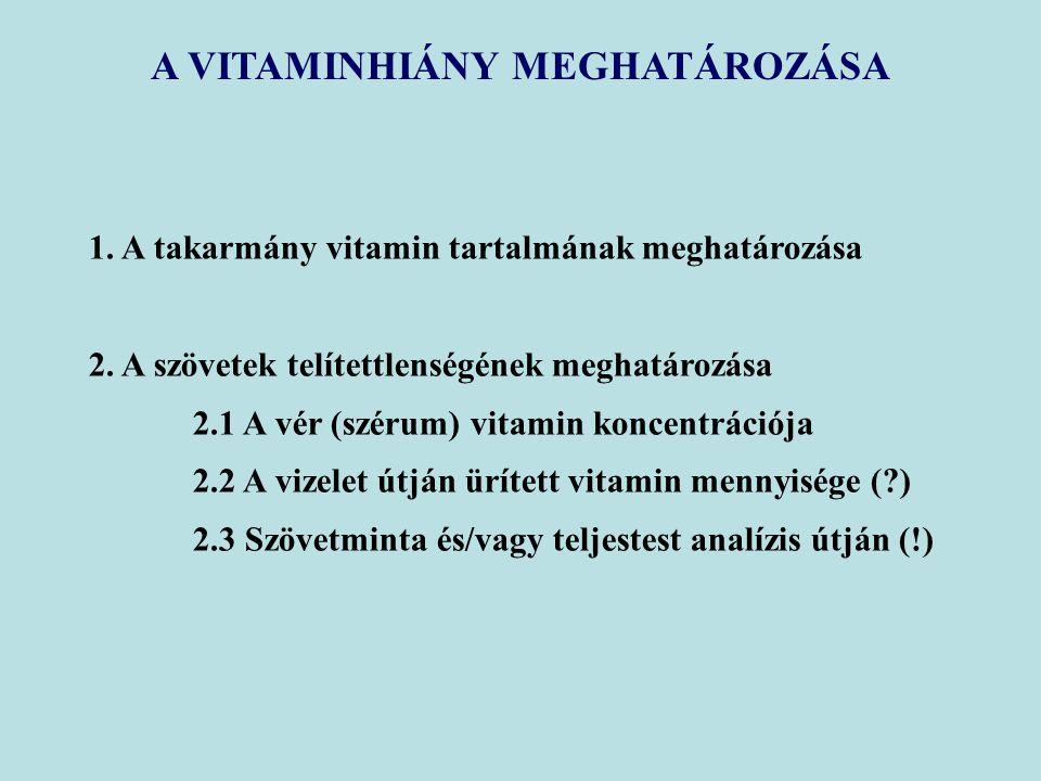 A VITAMINHIÁNY MEGHATÁROZÁSA 1. A takarmány vitamin tartalmának meghatározása 2. A szövetek telítettlenségének meghatározása 2.1 A vér (szérum) vitami