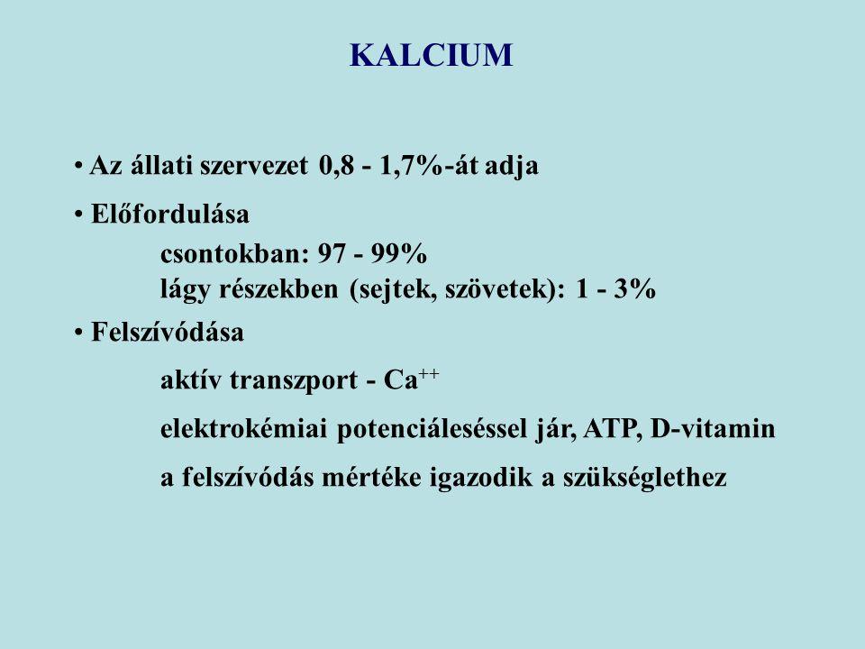 KALCIUM Az állati szervezet 0,8 - 1,7%-át adja Előfordulása csontokban: 97 - 99% lágy részekben (sejtek, szövetek): 1 - 3% Felszívódása aktív transzport - Ca ++ elektrokémiai potenciáleséssel jár, ATP, D-vitamin a felszívódás mértéke igazodik a szükséglethez