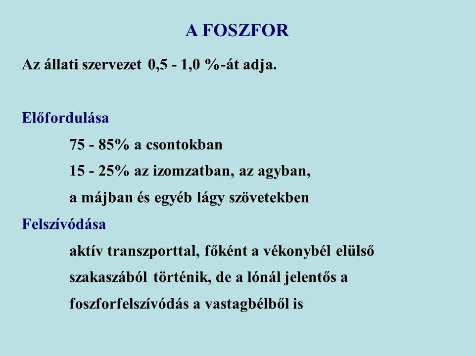 A FOSZFOR Az állati szervezet 0,5 - 1,0 %-át adja. Előfordulása 75 - 85% a csontokban 15 - 25% az izomzatban, az agyban, a májban és egyéb lágy szövet
