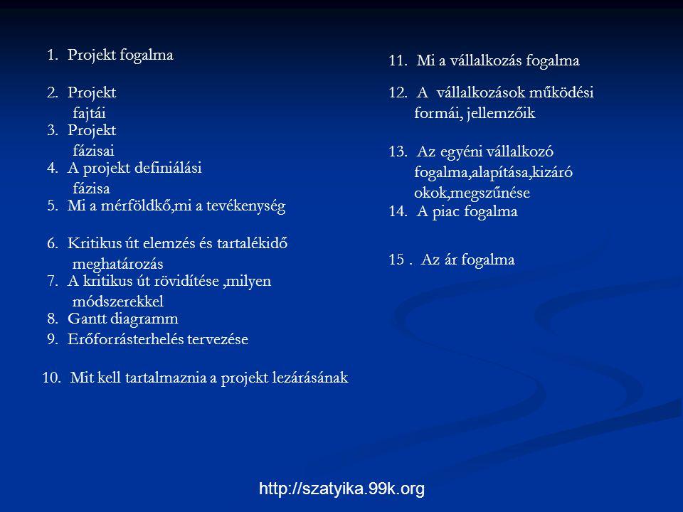http://szatyika.99k.org 1. Projekt fogalma 2. Projekt fajtái 3. Projekt fázisai 4. A projekt definiálási fázisa 5. Mi a mérföldkő,mi a tevékenység 6.